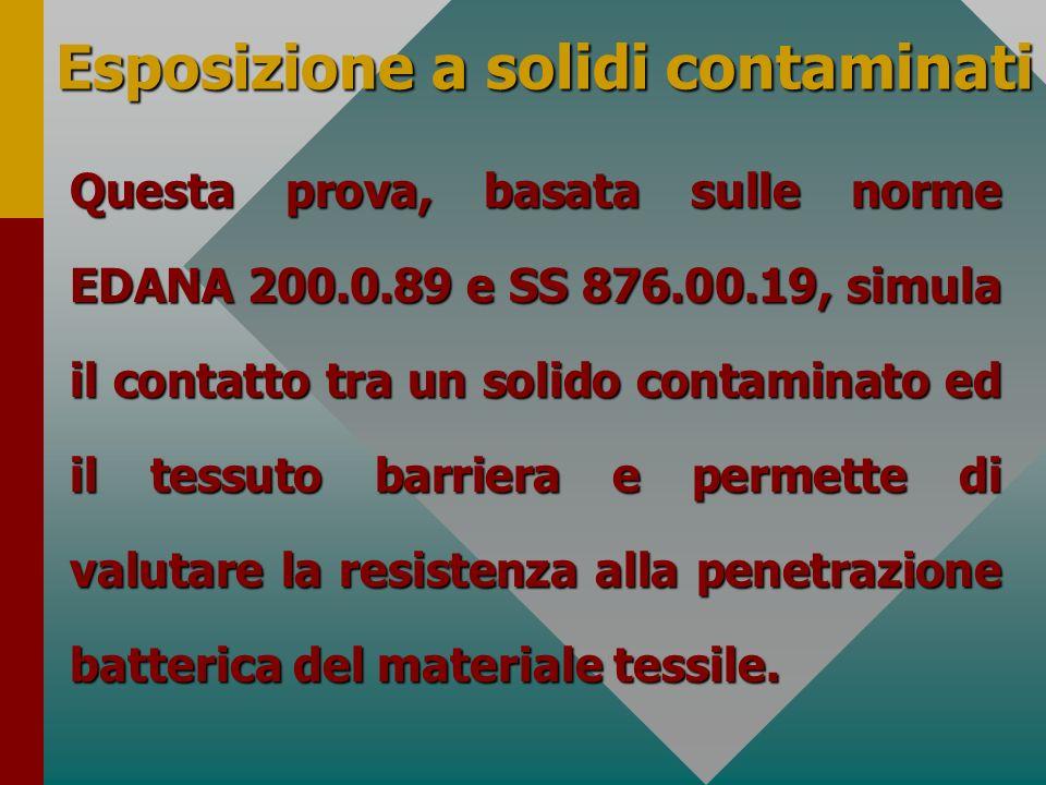 Esposizione a solidi contaminati Questa prova, basata sulle norme EDANA 200.0.89 e SS 876.00.19, simula il contatto tra un solido contaminato ed il te