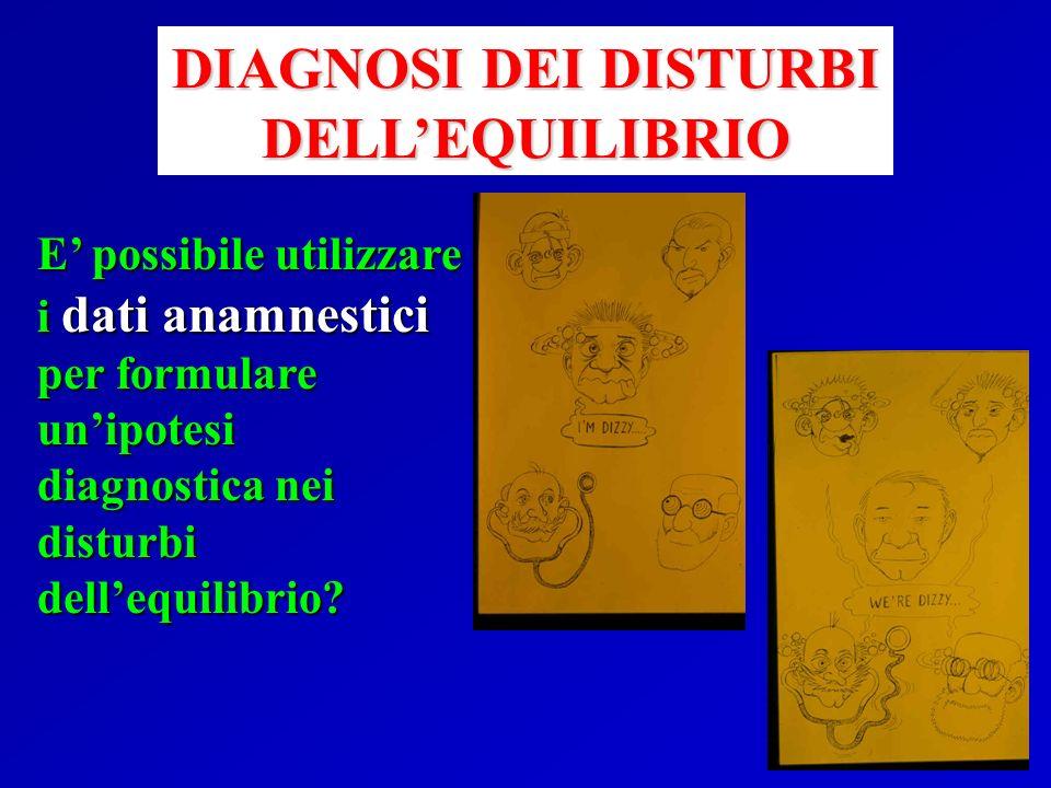 E possibile utilizzare i dati anamnestici per formulare unipotesi diagnostica nei disturbi dellequilibrio? DIAGNOSI DEI DISTURBI DELLEQUILIBRIO