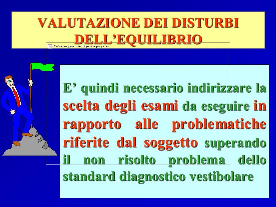 VALUTAZIONE DEI DISTURBI DELLEQUILIBRIO E quindi necessario indirizzare la scelta degli esami da eseguire in rapporto alle problematiche riferite dal