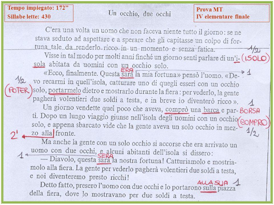 Prova MT IV elementare finale Tempo impiegato: 172 Sillabe lette: 430
