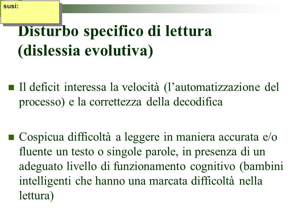 Disturbo specifico di lettura (dislessia evolutiva) Il deficit interessa la velocità (lautomatizzazione del processo) e la correttezza della decodific