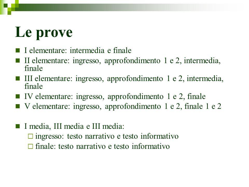 Le prove I elementare: intermedia e finale II elementare: ingresso, approfondimento 1 e 2, intermedia, finale III elementare: ingresso, approfondiment