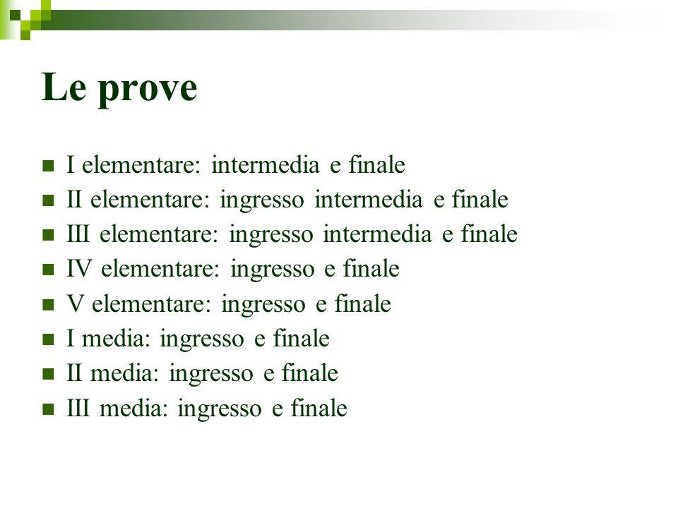Le prove I elementare: intermedia e finale II elementare: ingresso intermedia e finale III elementare: ingresso intermedia e finale IV elementare: ing