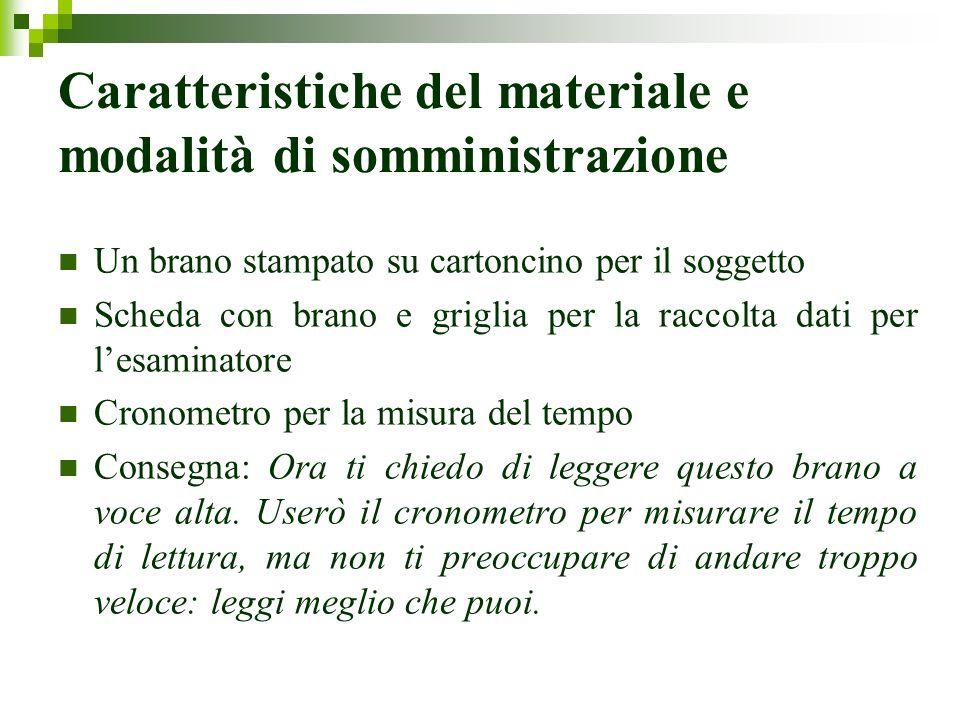 Modalità di somministrazione Appena termina le lettura del titolo da parte dellesaminatore, inizia la lettura da parte del soggetto (si fa partire il cronometro).