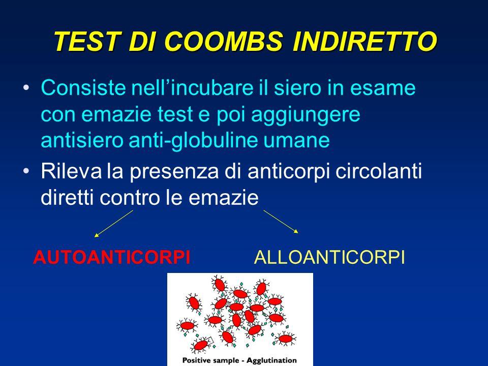 TEST DI COOMBS INDIRETTO Consiste nellincubare il siero in esame con emazie test e poi aggiungere antisiero anti-globuline umane Rileva la presenza di anticorpi circolanti diretti contro le emazie AUTOANTICORPI ALLOANTICORPI