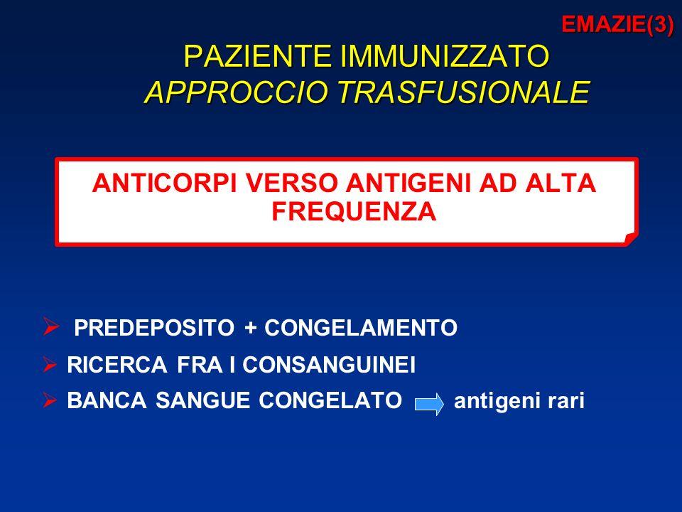 EMAZIE(3) PAZIENTE IMMUNIZZATO APPROCCIO TRASFUSIONALE EMAZIE(3) PAZIENTE IMMUNIZZATO APPROCCIO TRASFUSIONALE ANTICORPI VERSO ANTIGENI AD ALTA FREQUENZA PREDEPOSITO + CONGELAMENTO RICERCA FRA I CONSANGUINEI BANCA SANGUE CONGELATO antigeni rari