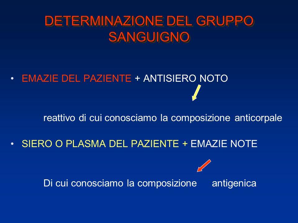 DETERMINAZIONE DEL GRUPPO SANGUIGNO agglutinine agglutinogeni agglutinine
