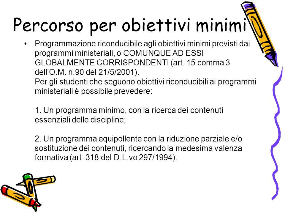 Percorso per obiettivi minimi Programmazione riconducibile agli obiettivi minimi previsti dai programmi ministeriali, o COMUNQUE AD ESSI GLOBALMENTE C
