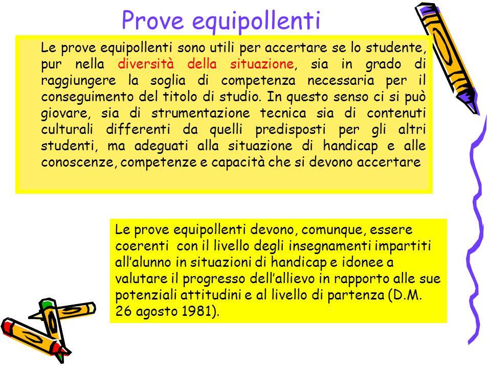 Prove equipollenti Le prove equipollenti sono utili per accertare se lo studente, pur nella diversità della situazione, sia in grado di raggiungere la