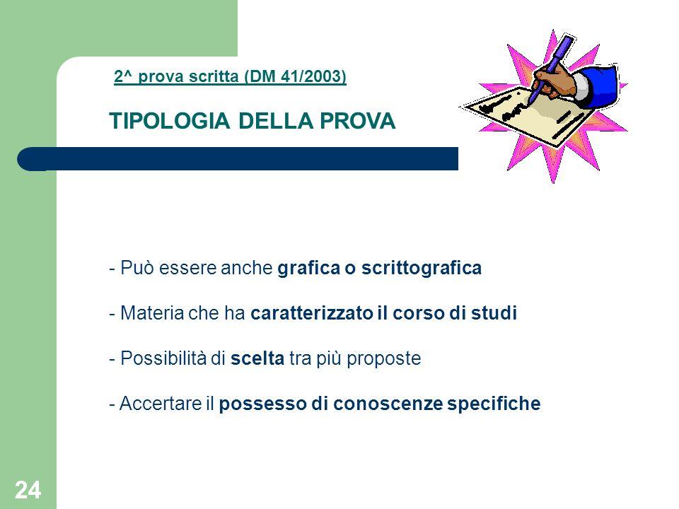 24 2^ prova scritta (DM 41/2003) TIPOLOGIA DELLA PROVA - Può essere anche grafica o scrittografica - Materia che ha caratterizzato il corso di studi - Possibilità di scelta tra più proposte - Accertare il possesso di conoscenze specifiche