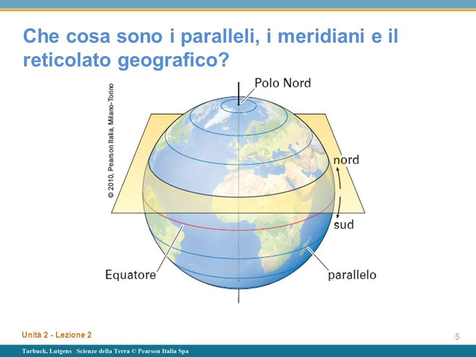 Unità 2 - Lezione 2 6 Che cosa sono i paralleli, i meridiani e il reticolato geografico.