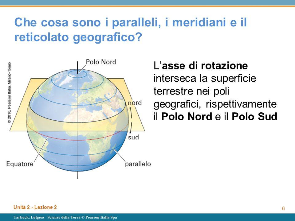 Unità 2 - Lezione 2 7 Che cosa sono i paralleli, i meridiani e il reticolato geografico.