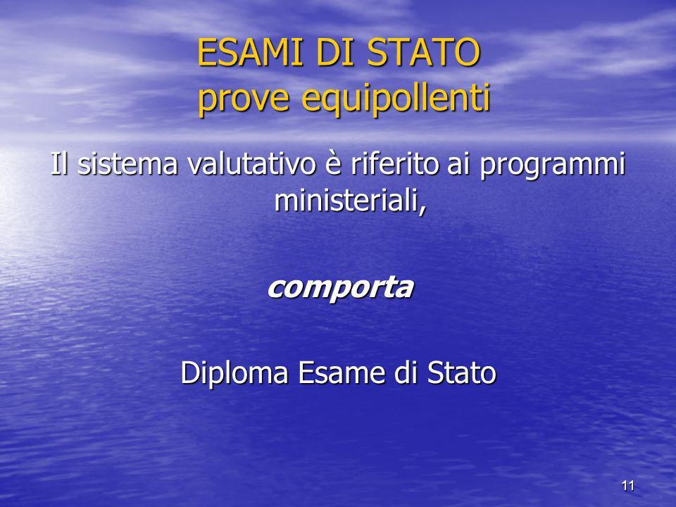 11 ESAMI DI STATO prove equipollenti Il sistema valutativo è riferito ai programmi ministeriali, comporta Diploma Esame di Stato