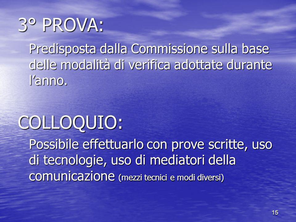 15 3° PROVA: Predisposta dalla Commissione sulla base delle modalità di verifica adottate durante lanno.