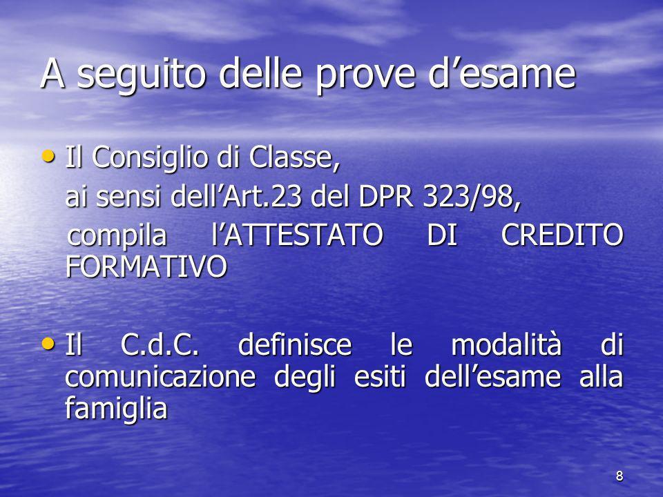 8 A seguito delle prove desame Il Consiglio di Classe, Il Consiglio di Classe, ai sensi dellArt.23 del DPR 323/98, compila lATTESTATO DI CREDITO FORMATIVO compila lATTESTATO DI CREDITO FORMATIVO Il C.d.C.