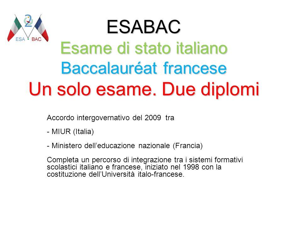 ESABAC Esame di stato italiano Baccalauréat francese Un solo esame. Due diplomi Accordo intergovernativo del 2009 tra - MIUR (Italia) - Ministero dell