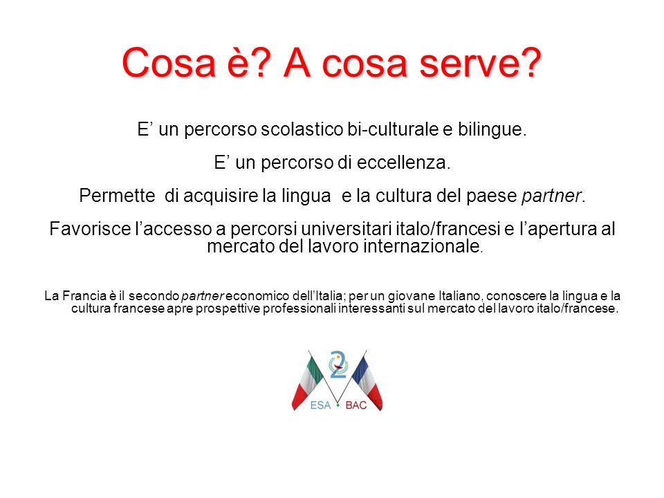 Cosa è? A cosa serve? E un percorso scolastico bi-culturale e bilingue. E un percorso di eccellenza. Permette di acquisire la lingua e la cultura del