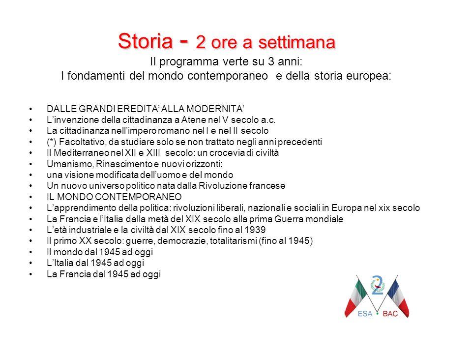 Storia - 2 ore a settimana Storia - 2 ore a settimana Il programma verte su 3 anni: I fondamenti del mondo contemporaneo e della storia europea: DALLE