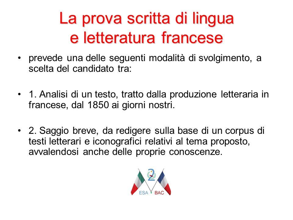 La prova scritta di lingua e letteratura francese prevede una delle seguenti modalità di svolgimento, a scelta del candidato tra: 1. Analisi di un tes