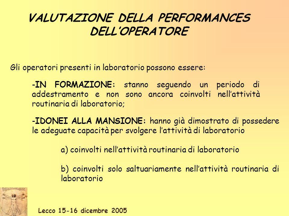 Lecco 15-16 dicembre 2005 VALUTAZIONE DELLA PERFORMANCES DELLOPERATORE Gli operatori presenti in laboratorio possono essere: -IN FORMAZIONE: stanno se
