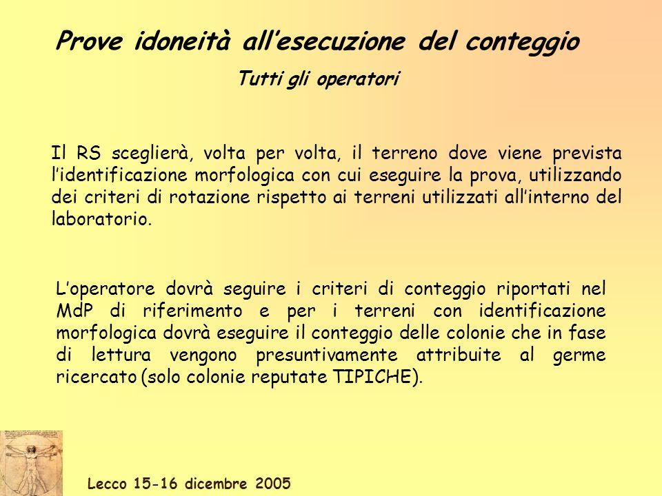 Lecco 15-16 dicembre 2005 Il RS sceglierà, volta per volta, il terreno dove viene prevista lidentificazione morfologica con cui eseguire la prova, uti