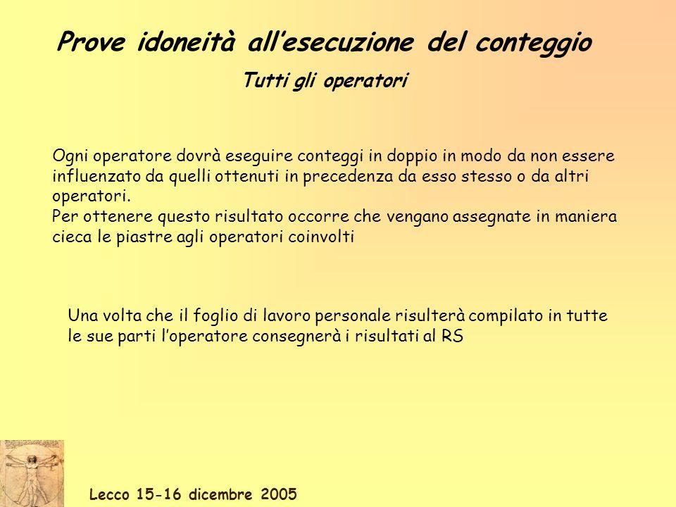 Lecco 15-16 dicembre 2005 Ogni operatore dovrà eseguire conteggi in doppio in modo da non essere influenzato da quelli ottenuti in precedenza da esso stesso o da altri operatori.