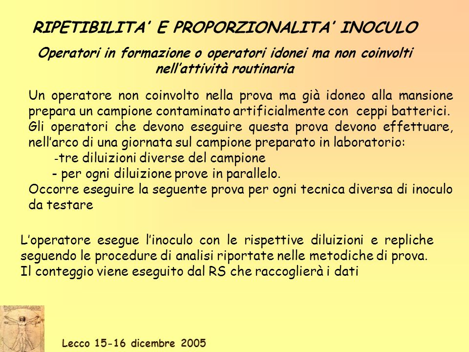 Lecco 15-16 dicembre 2005 RIPETIBILITA E PROPORZIONALITA INOCULO Operatori in formazione o operatori idonei ma non coinvolti nellattività routinaria U