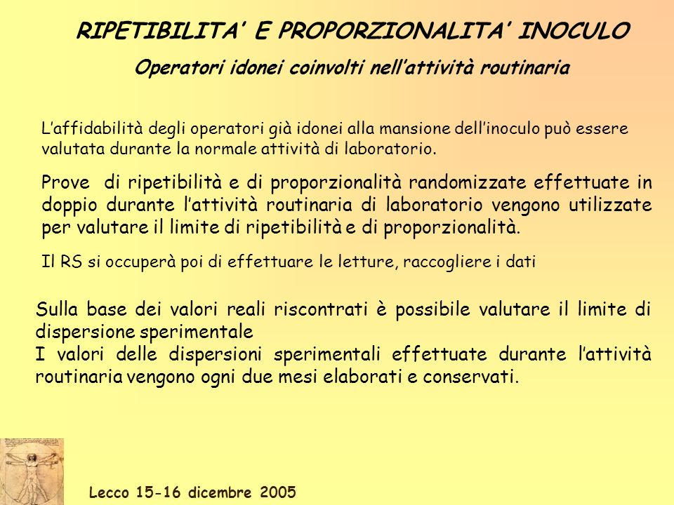 Lecco 15-16 dicembre 2005 RIPETIBILITA E PROPORZIONALITA INOCULO Operatori idonei coinvolti nellattività routinaria Prove di ripetibilità e di proporzionalità randomizzate effettuate in doppio durante lattività routinaria di laboratorio vengono utilizzate per valutare il limite di ripetibilità e di proporzionalità.