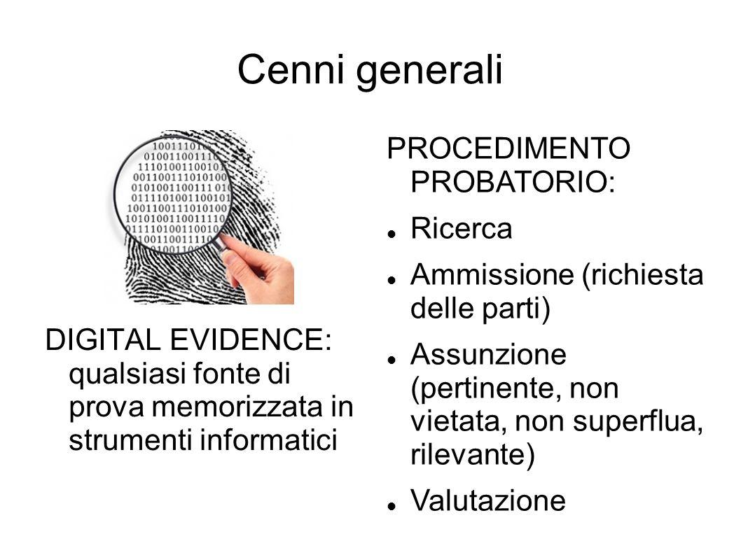 Cenni generali DIGITAL EVIDENCE: qualsiasi fonte di prova memorizzata in strumenti informatici PROCEDIMENTO PROBATORIO: Ricerca Ammissione (richiesta