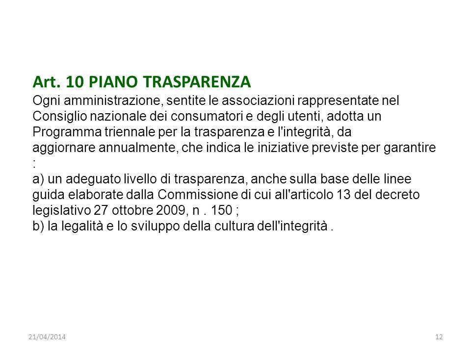 Art. 10 PIANO TRASPARENZA Ogni amministrazione, sentite le associazioni rappresentate nel Consiglio nazionale dei consumatori e degli utenti, adotta u