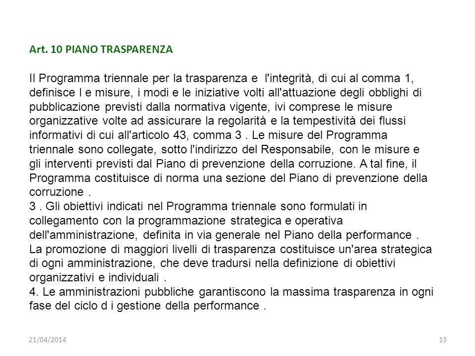 21/04/201413 Art. 10 PIANO TRASPARENZA Il Programma triennale per la trasparenza e l'integrità, di cui al comma 1, definisce l e misure, i modi e le i