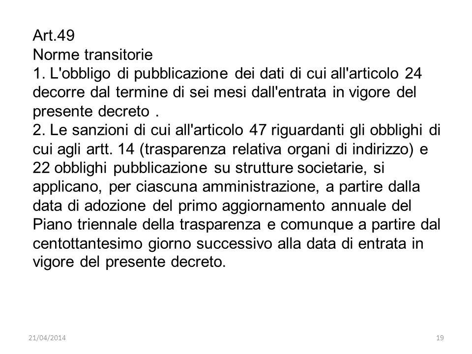 21/04/201419 Art.49 Norme transitorie 1. L'obbligo di pubblicazione dei dati di cui all'articolo 24 decorre dal termine di sei mesi dall'entrata in vi