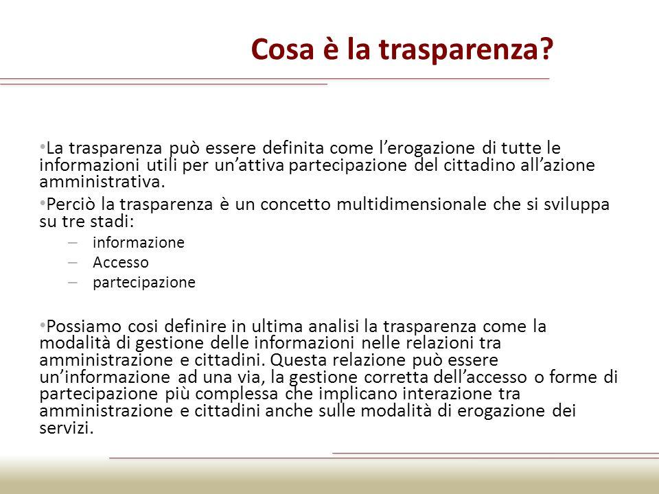 Cosa è la trasparenza? La trasparenza può essere definita come lerogazione di tutte le informazioni utili per unattiva partecipazione del cittadino al