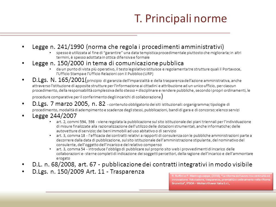 Normativa sulla trasparenza Norme organiche: Art.