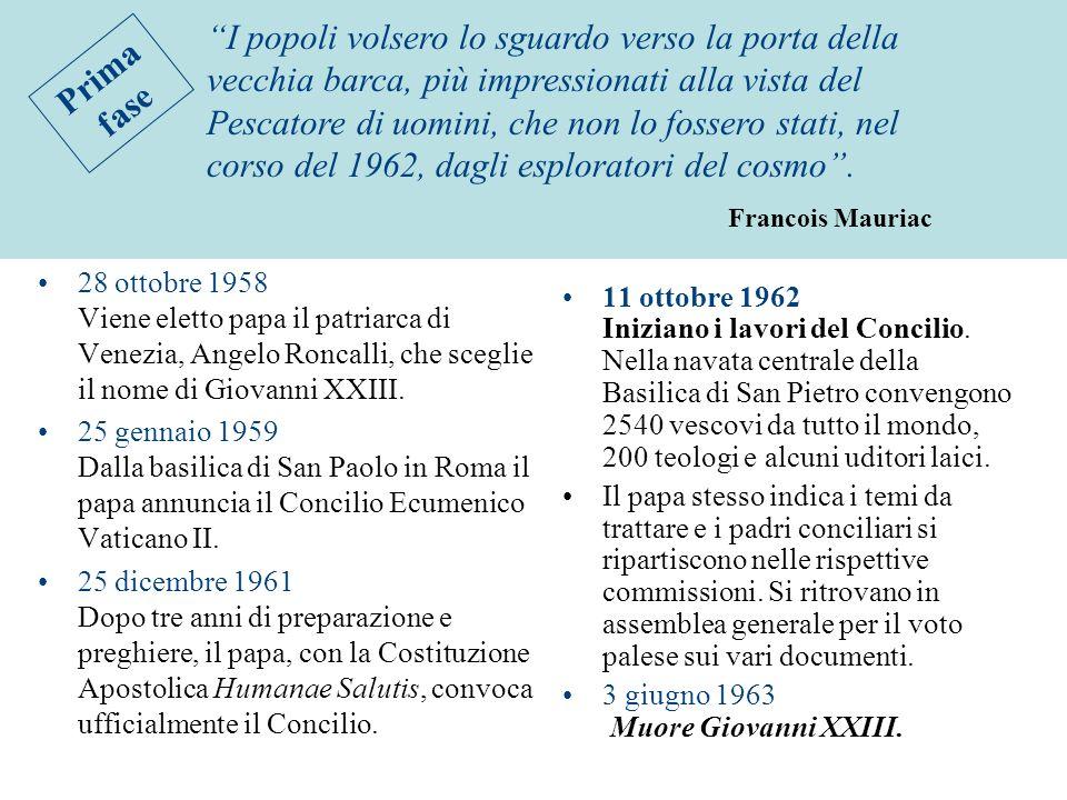 28 ottobre 1958 Viene eletto papa il patriarca di Venezia, Angelo Roncalli, che sceglie il nome di Giovanni XXIII. 25 gennaio 1959 Dalla basilica di S