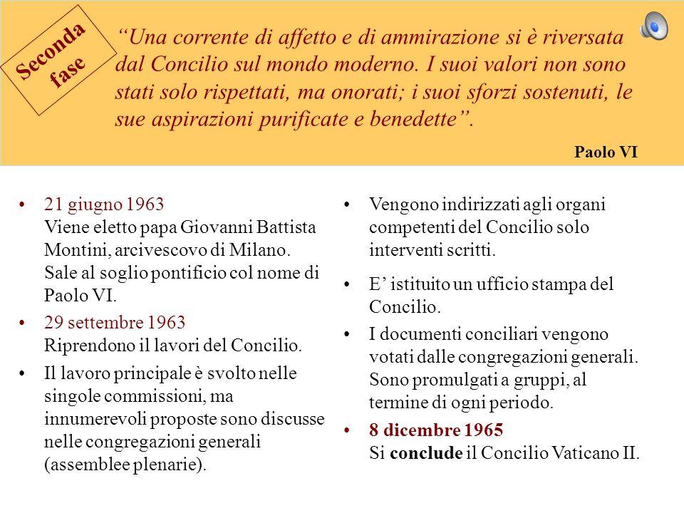 21 giugno 1963 Viene eletto papa Giovanni Battista Montini, arcivescovo di Milano. Sale al soglio pontificio col nome di Paolo VI. 29 settembre 1963 R