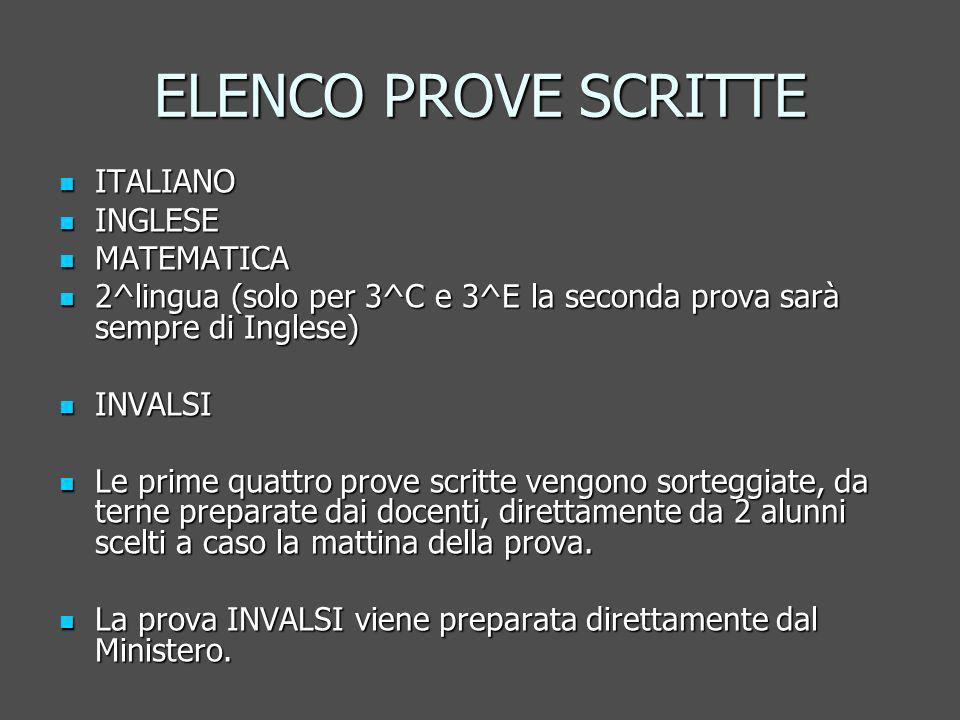 ELENCO PROVE SCRITTE ITALIANO ITALIANO INGLESE INGLESE MATEMATICA MATEMATICA 2^lingua (solo per 3^C e 3^E la seconda prova sarà sempre di Inglese) 2^lingua (solo per 3^C e 3^E la seconda prova sarà sempre di Inglese) INVALSI INVALSI Le prime quattro prove scritte vengono sorteggiate, da terne preparate dai docenti, direttamente da 2 alunni scelti a caso la mattina della prova.
