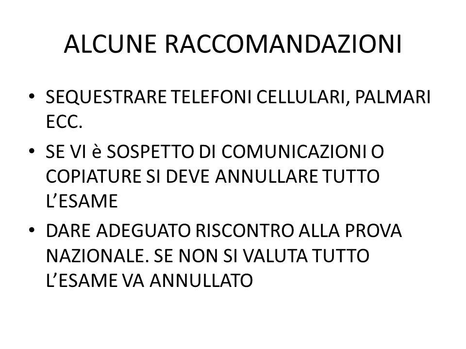 ALCUNE RACCOMANDAZIONI SEQUESTRARE TELEFONI CELLULARI, PALMARI ECC.
