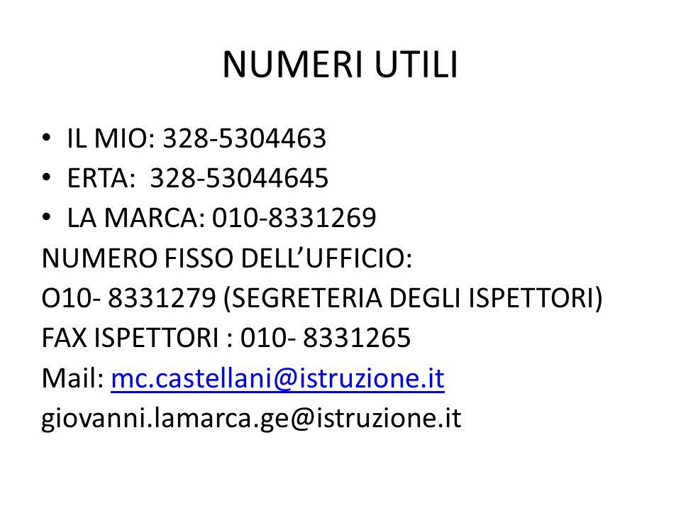 NUMERI UTILI IL MIO: 328-5304463 ERTA: 328-53044645 LA MARCA: 010-8331269 NUMERO FISSO DELLUFFICIO: O10- 8331279 (SEGRETERIA DEGLI ISPETTORI) FAX ISPETTORI : 010- 8331265 Mail: mc.castellani@istruzione.itmc.castellani@istruzione.it giovanni.lamarca.ge@istruzione.it