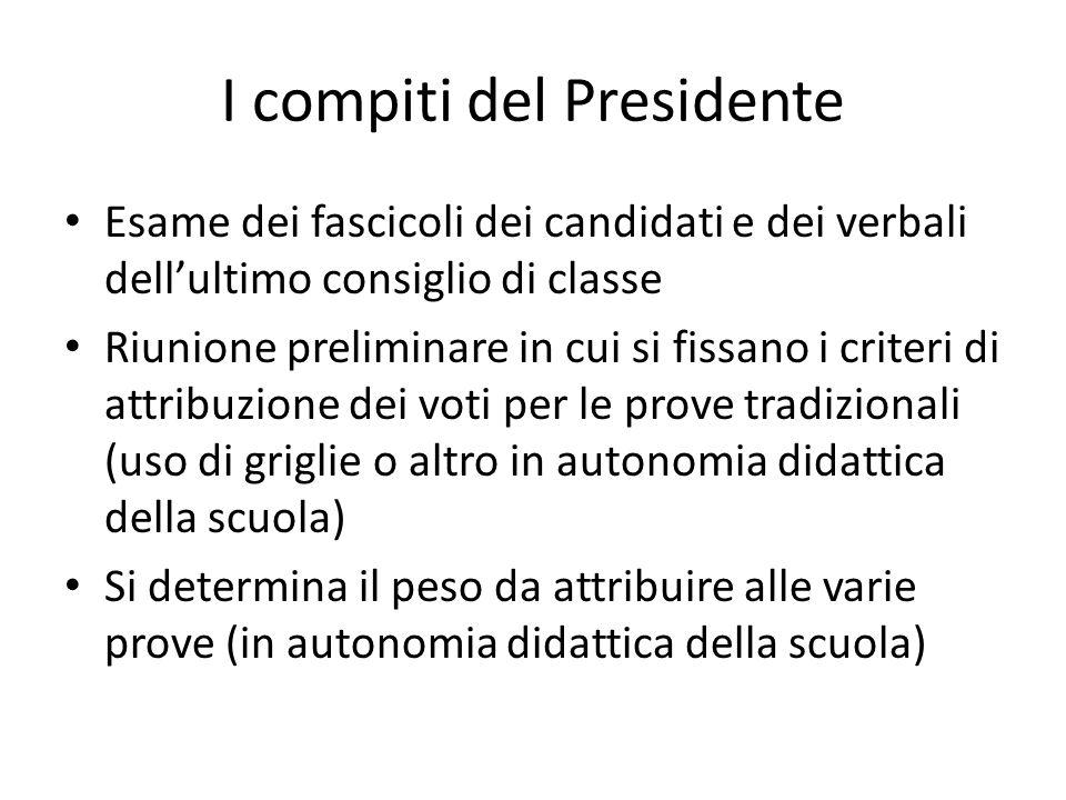 I compiti del presidente 2 Sempre nella preliminare, si evidenziano i casi particolari, gli ammessi con problemi.