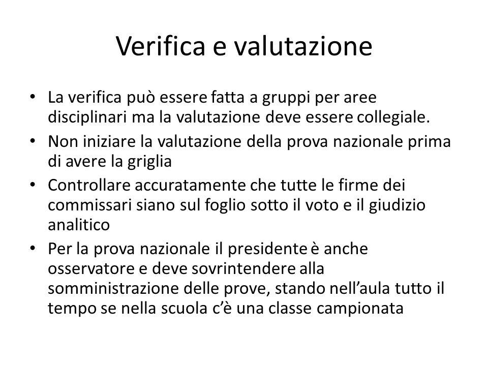 Verifica e valutazione La verifica può essere fatta a gruppi per aree disciplinari ma la valutazione deve essere collegiale.