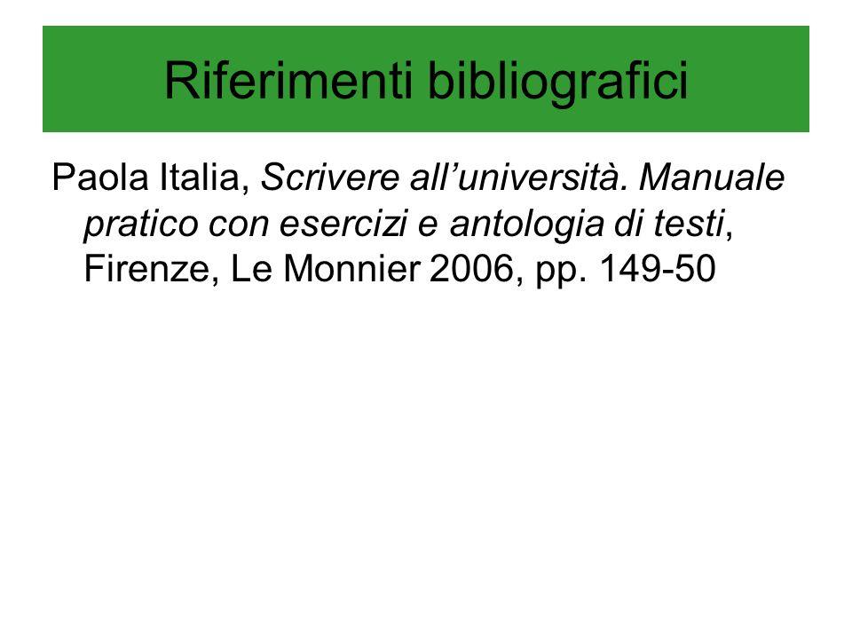 Riferimenti bibliografici Paola Italia, Scrivere alluniversità. Manuale pratico con esercizi e antologia di testi, Firenze, Le Monnier 2006, pp. 149-5