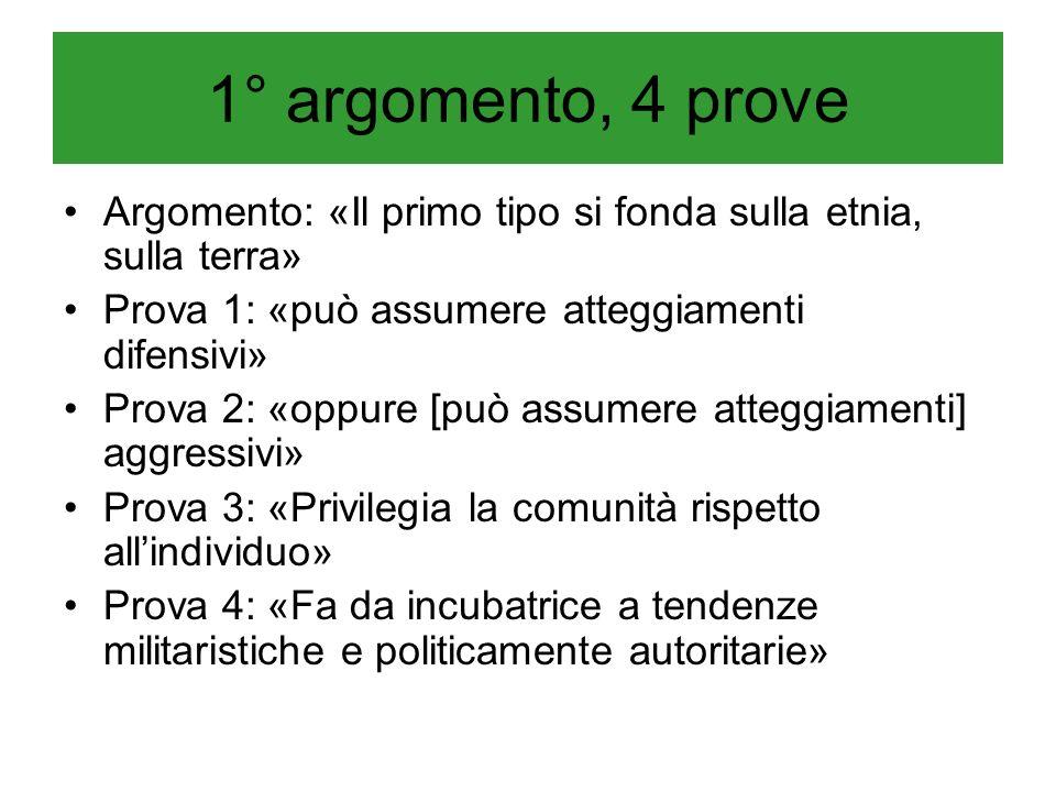 1° argomento, 4 prove Argomento: «Il primo tipo si fonda sulla etnia, sulla terra» Prova 1: «può assumere atteggiamenti difensivi» Prova 2: «oppure [p