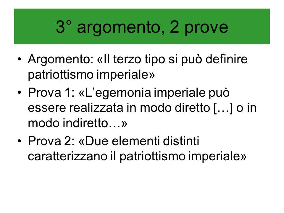 3° argomento, 2 prove Argomento: «Il terzo tipo si può definire patriottismo imperiale» Prova 1: «Legemonia imperiale può essere realizzata in modo di
