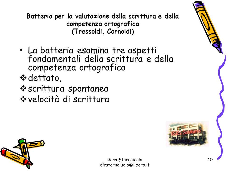 Rosa Stornaiuolo dirstornaiuolo@libero.it 10 Batteria per la valutazione della scrittura e della competenza ortografica (Tressoldi, Cornoldi) La batte