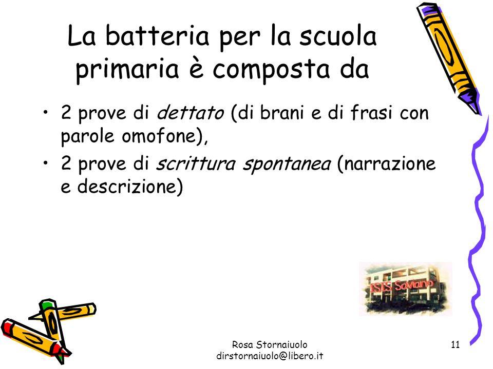 Rosa Stornaiuolo dirstornaiuolo@libero.it 11 La batteria per la scuola primaria è composta da 2 prove di dettato (di brani e di frasi con parole omofo