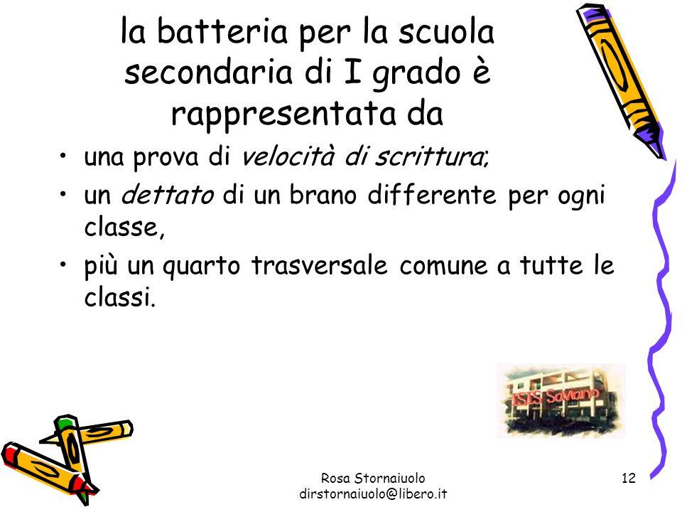 Rosa Stornaiuolo dirstornaiuolo@libero.it 12 la batteria per la scuola secondaria di I grado è rappresentata da una prova di velocità di scrittura; un