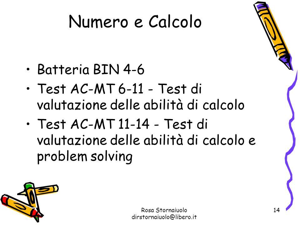 Rosa Stornaiuolo dirstornaiuolo@libero.it 14 Numero e Calcolo Batteria BIN 4-6 Test AC-MT 6-11 - Test di valutazione delle abilità di calcolo Test AC-