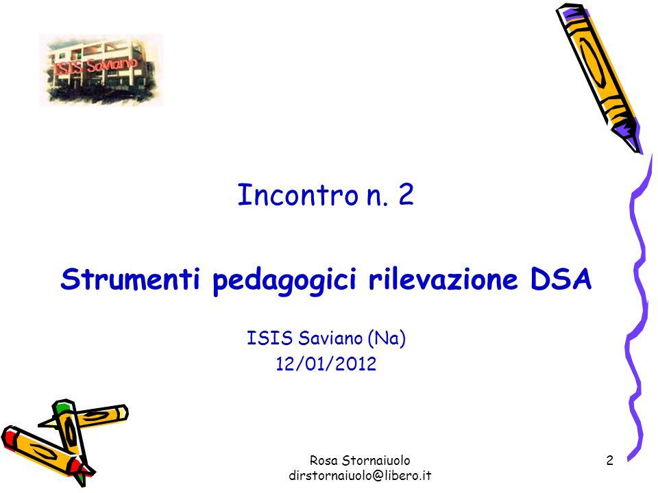 Rosa Stornaiuolo dirstornaiuolo@libero.it 2 Incontro n. 2 Strumenti pedagogici rilevazione DSA ISIS Saviano (Na) 12/01/2012