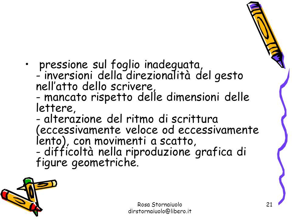 Rosa Stornaiuolo dirstornaiuolo@libero.it 21 pressione sul foglio inadeguata, - inversioni della direzionalità del gesto nellatto dello scrivere, - ma